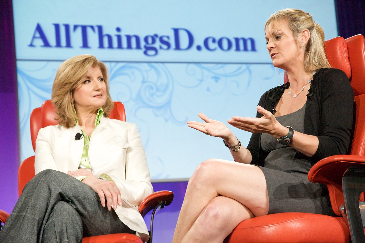 Arianna Huffington and Katharine Weymouth,