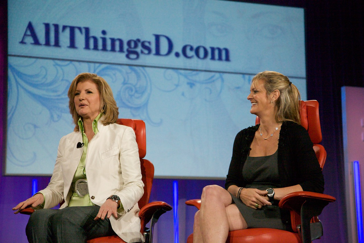 Arianna Huffington and Katharine Weymouth onstage at D7.