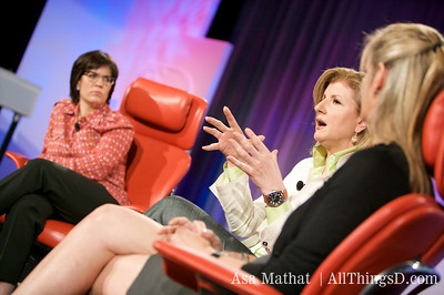 Arianna Huffington makes a point during her session with Katherine Weymouth.