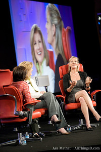 Katharine Weymouth of the Washington Post, onstage with Kara Swisher and Arianna Huffington.