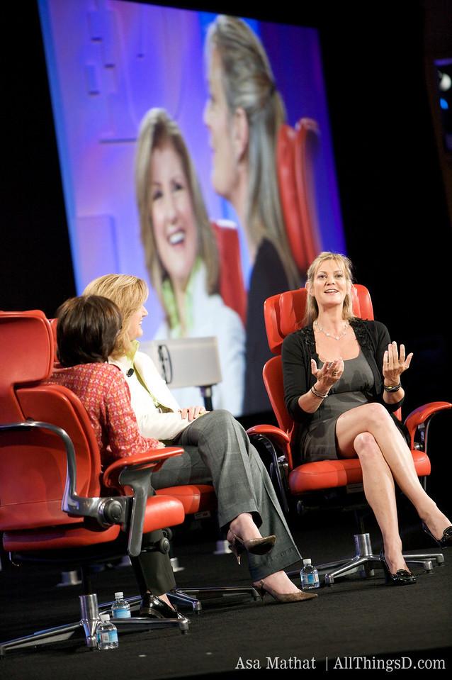 Katharine Weymouth of the Washington Post, onstage with Kara Swisher and Arianna Huffington.