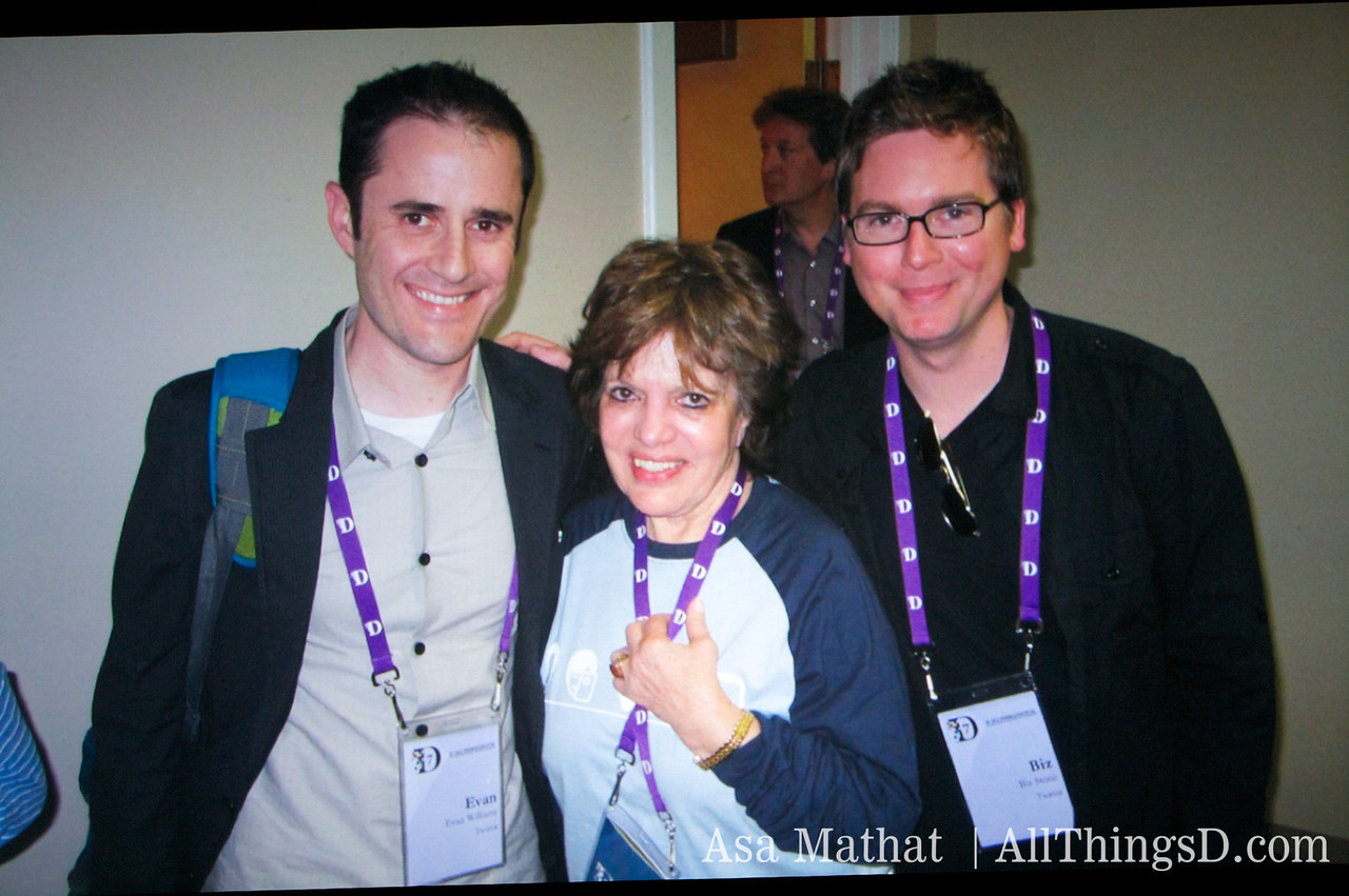 Kara's Swisher's mom, Lucky (#luckyd7), with the Twitter founders.