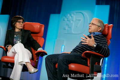 Kara Swisher and Irving Azoff onstage together at D7.