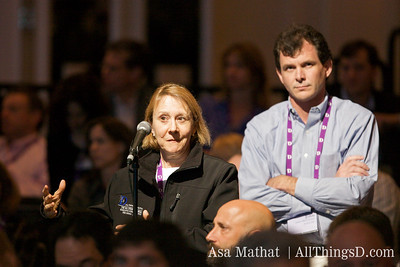 Esther Dyson asks Irving Azoff, CEO of Ticketmaster a question at the D7 conference.