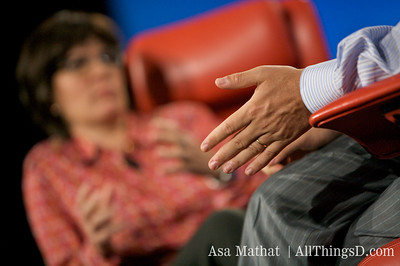 Jeff Zucker's hands during his talk with Kara Swisher at D7.