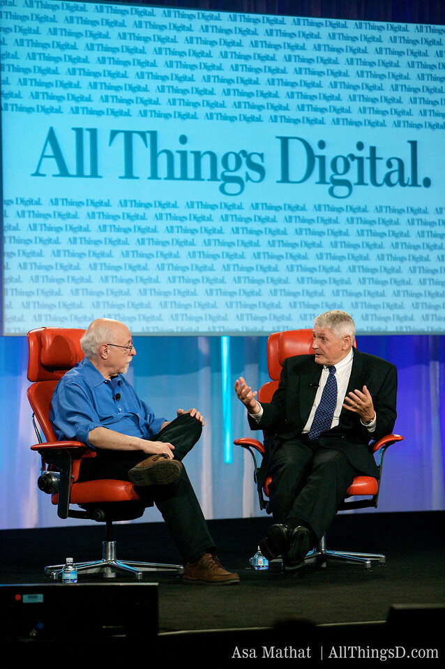 Walt Mossberg interviews John Malone, chairman of Liberty Media, onstage at D7.