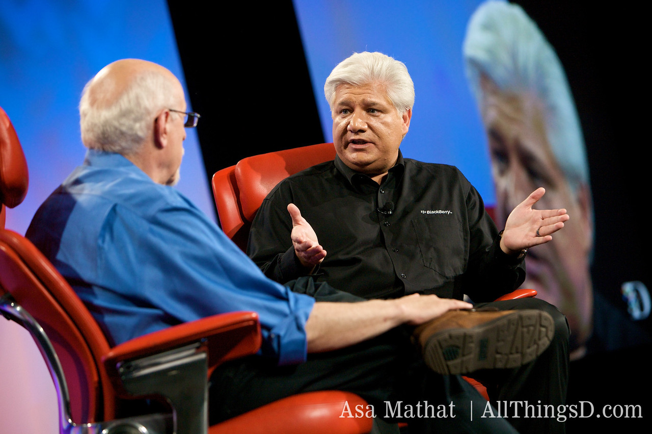 Mike Lazaridis, co-CEO of RIM, talks with Walt Mossberg at D7.