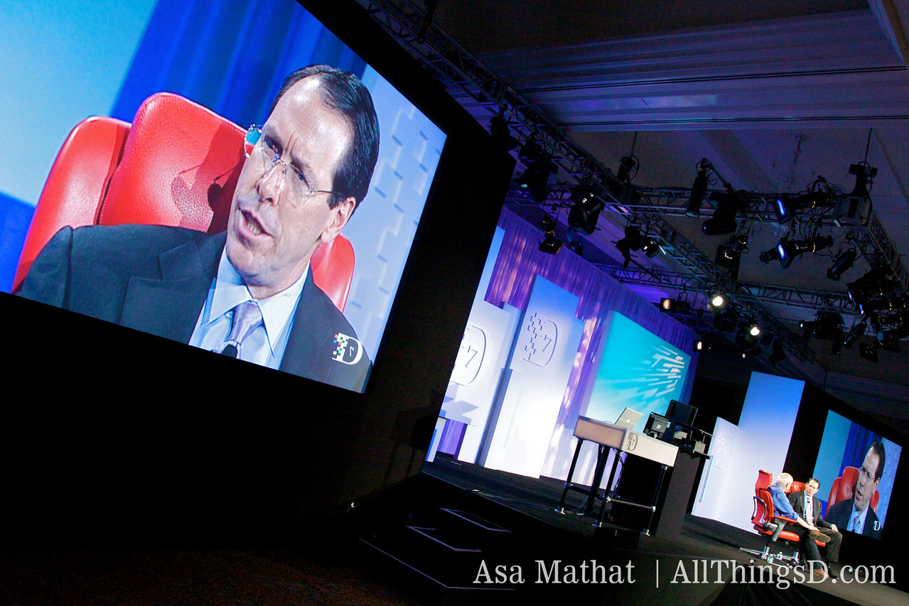 Randall Stephenson of AT&T, on stage and on screen.