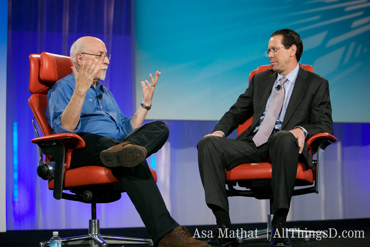 Walt Mossberg and Randall Stephenson of AT&T, onstage at D7.