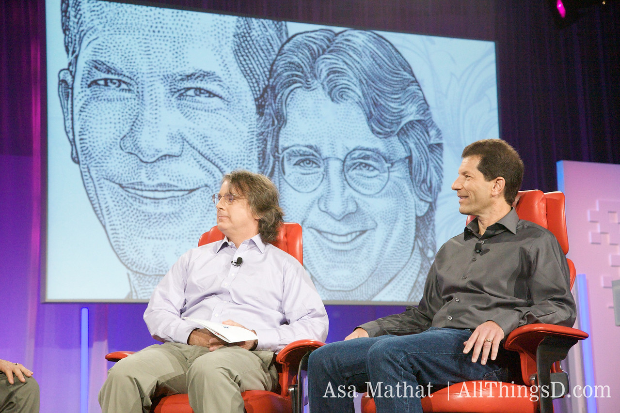 Elevation Partners' managing director Roger McNamee, onstage with Palm chairman Jon Rubinstein.