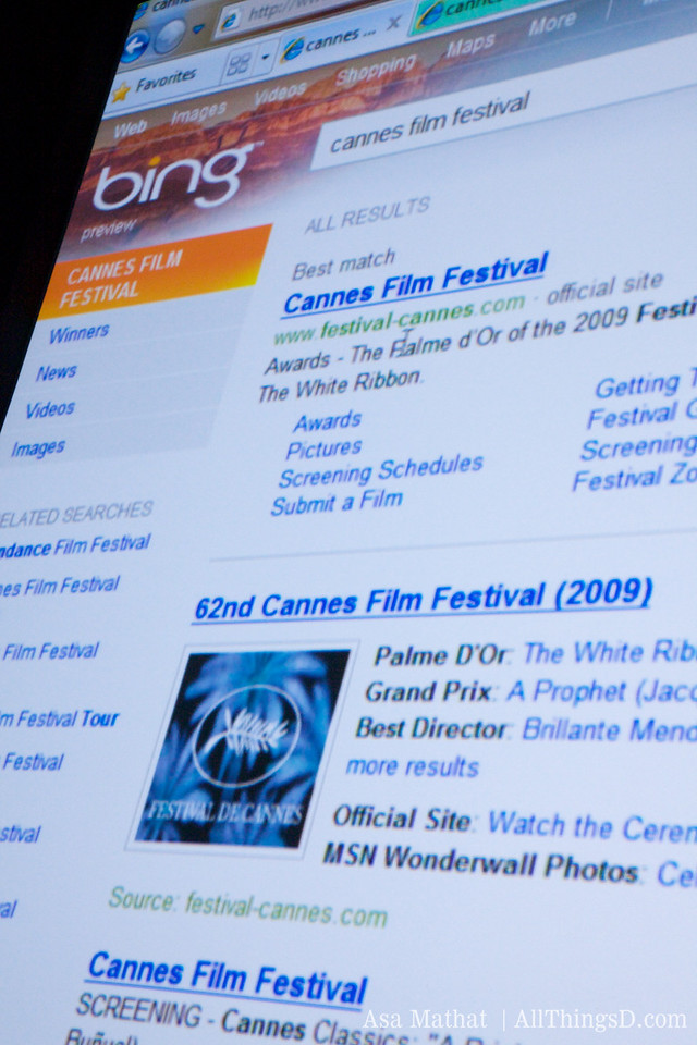 Cannes Film Festival search results on bing.