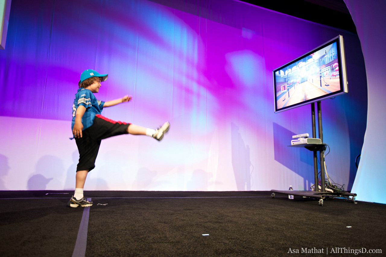 "Louie Swisher demonstrates Microsoft's Project Natal (since renamed ""Kinect"" for Xbox)."