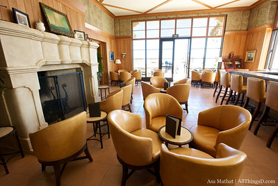 The lobby lounge -- empty but not for long.