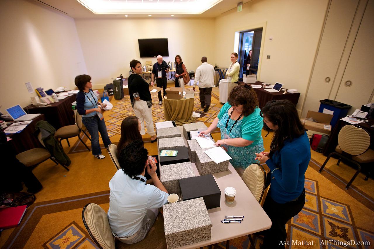 The war room -- conference registration prep.