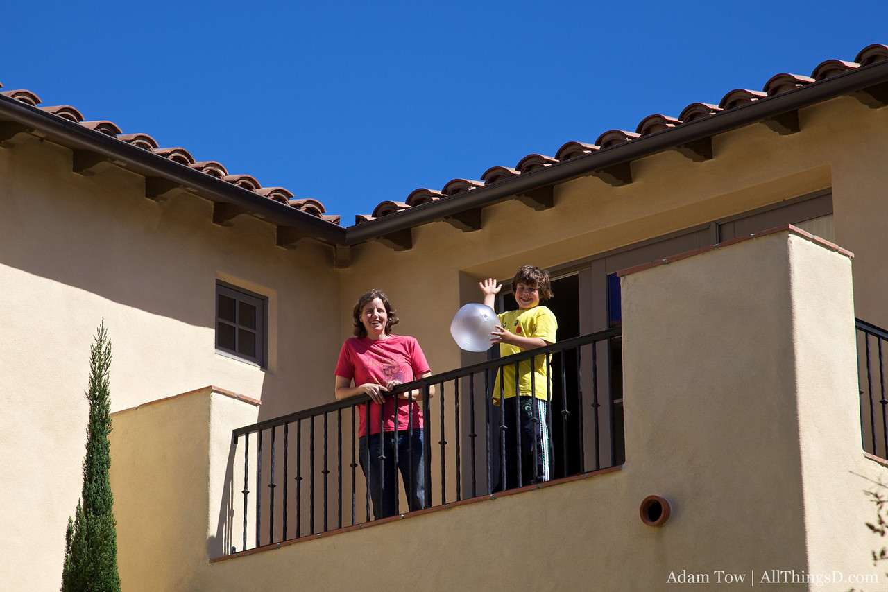 Megan and Louie atop their balcony at the Terranea Resort in Rancho Palos Verdes, California.