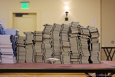 Stacks of notepads await their inclusion into the D8 swag bags.