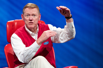"Alan Mulally, president and CEO of Ford Motor Company: ""You'll get to use apps in your car. We're building Pandora into our cars."""