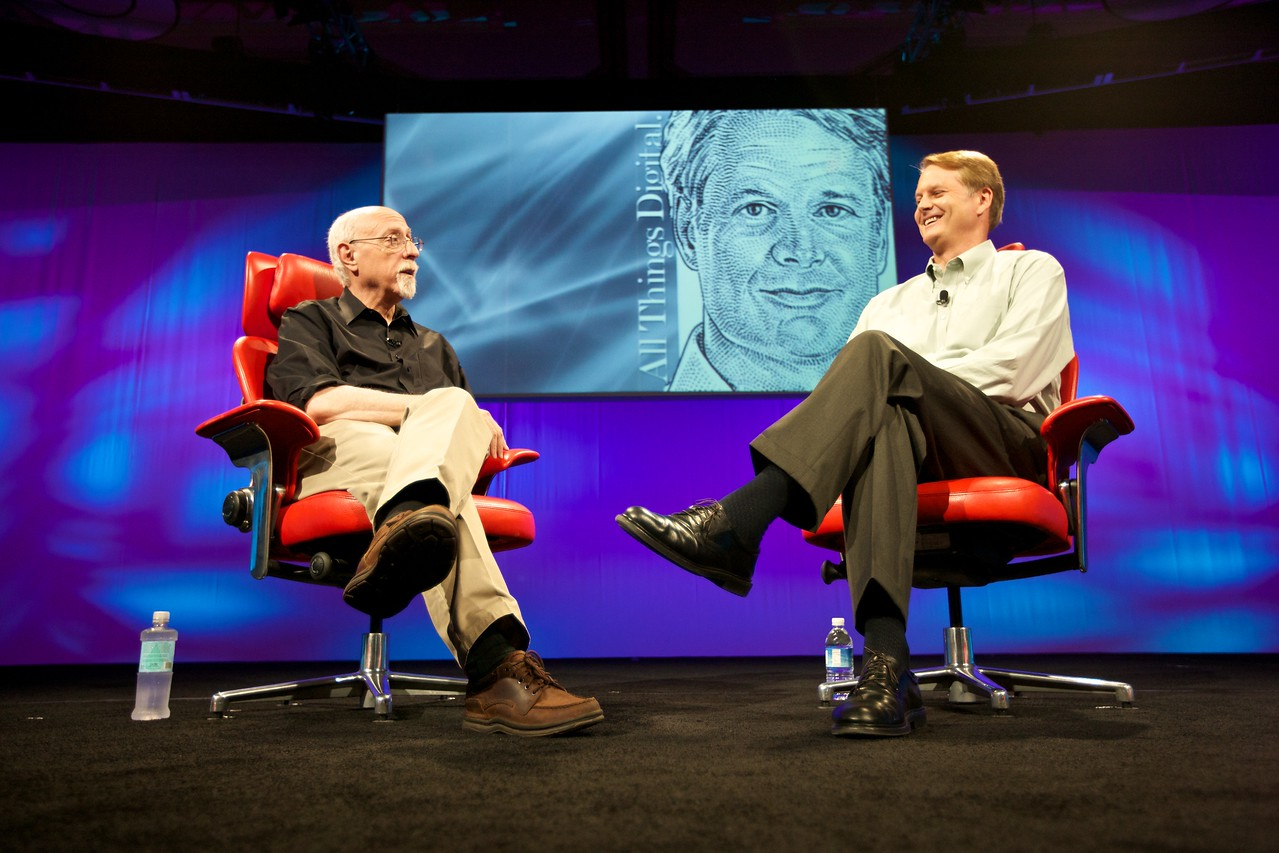 Walt Mossberg and John Donahoe, president and CEO of eBay, onstage at the D8 conference.