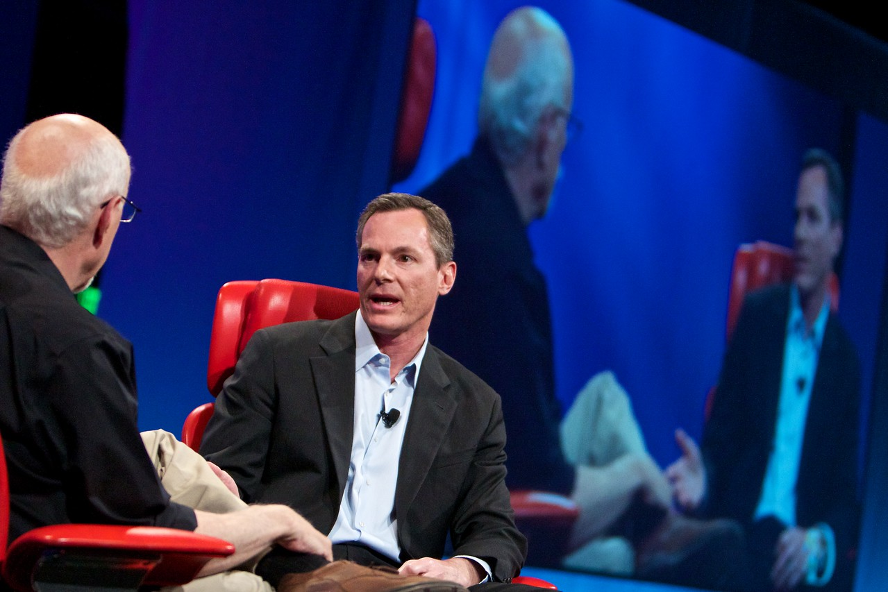 Qualcomm CEO Paul Jacobs onstage at the D8 conference with Walt Mossberg.