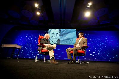 FCC Chairman Julius Genachowski onstage with Walt Mossberg.