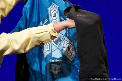 Closeup shot of the inside of Mark Zuckerberg's Facebook hoodie.