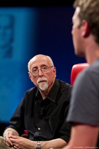 Walt Mossberg listens to Mark Zuckerberg at D8.