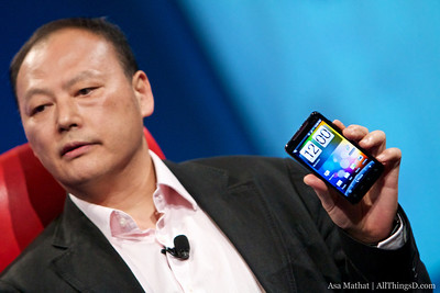 Peter Chou, CEO of HTC Corp., with the new EVO.