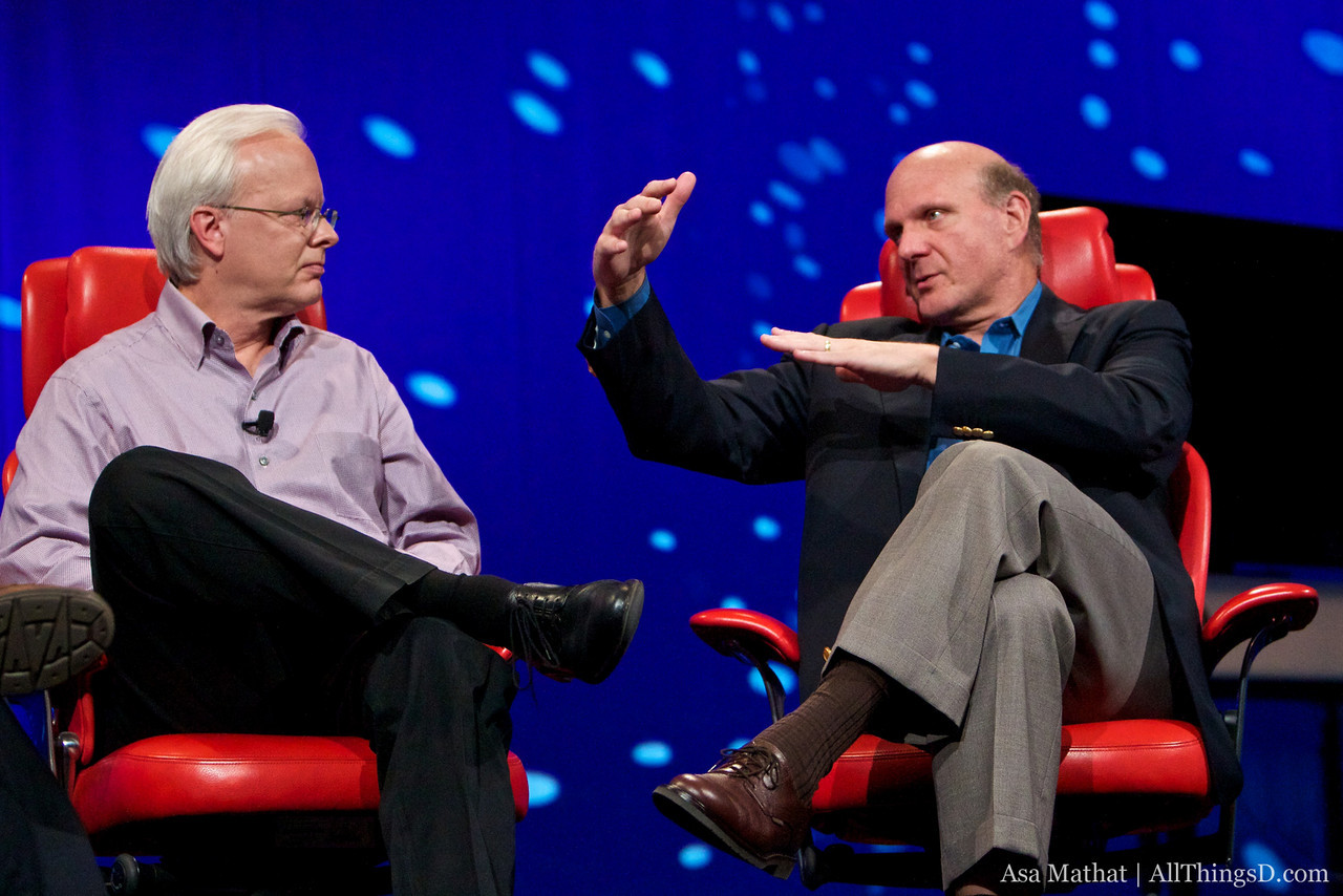 Ray Ozzie and Steve Ballmer of Microsoft onstage at D8.