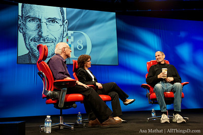 Walt Mossberg and Kara Swisher with Steve Jobs at the D8 conference on June 1.