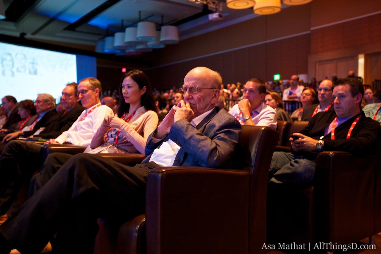 Rupert Murdoch listens during the Steve Jobs interview at D8.