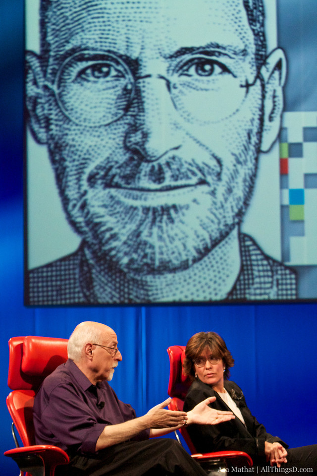 Walt Mossberg and Kara Swisher conduct the joint interview of Apple CEO Steve Jobs at the start of the D8 conference.