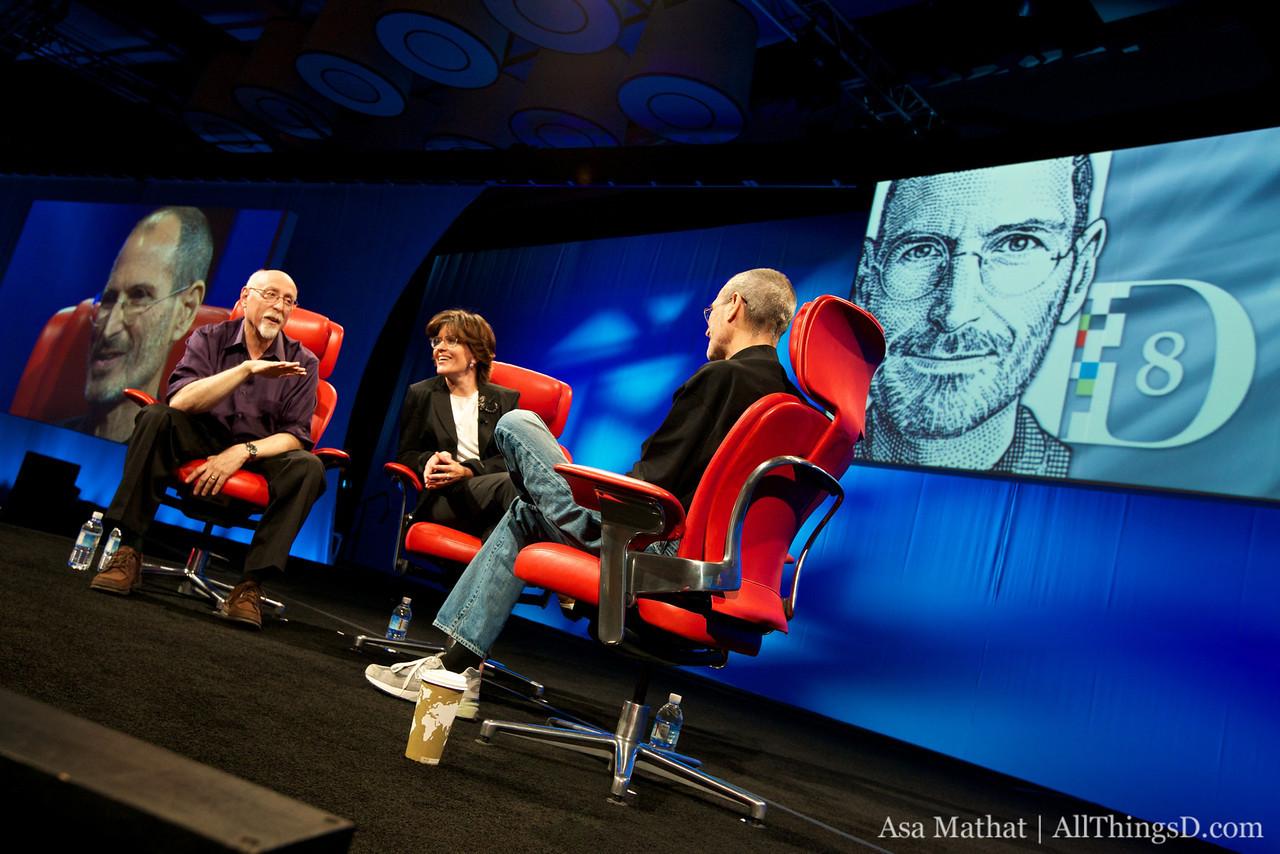 Walt and Kara with Steve Jobs at D8.