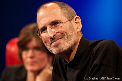 Steve Jobs smiles during the Q&A at D8.