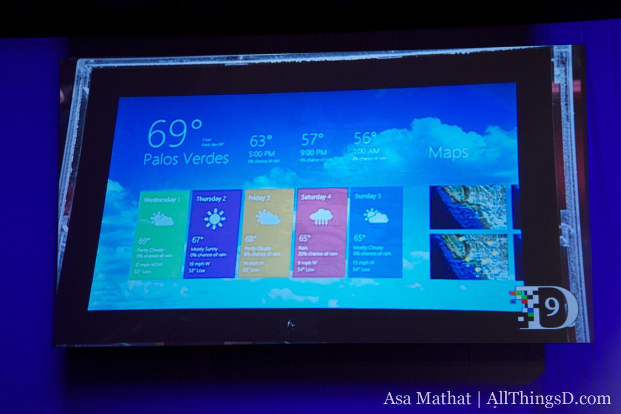 Weather widget in Windows 8.