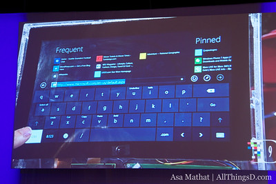 The soft keyboard on Windows 8.
