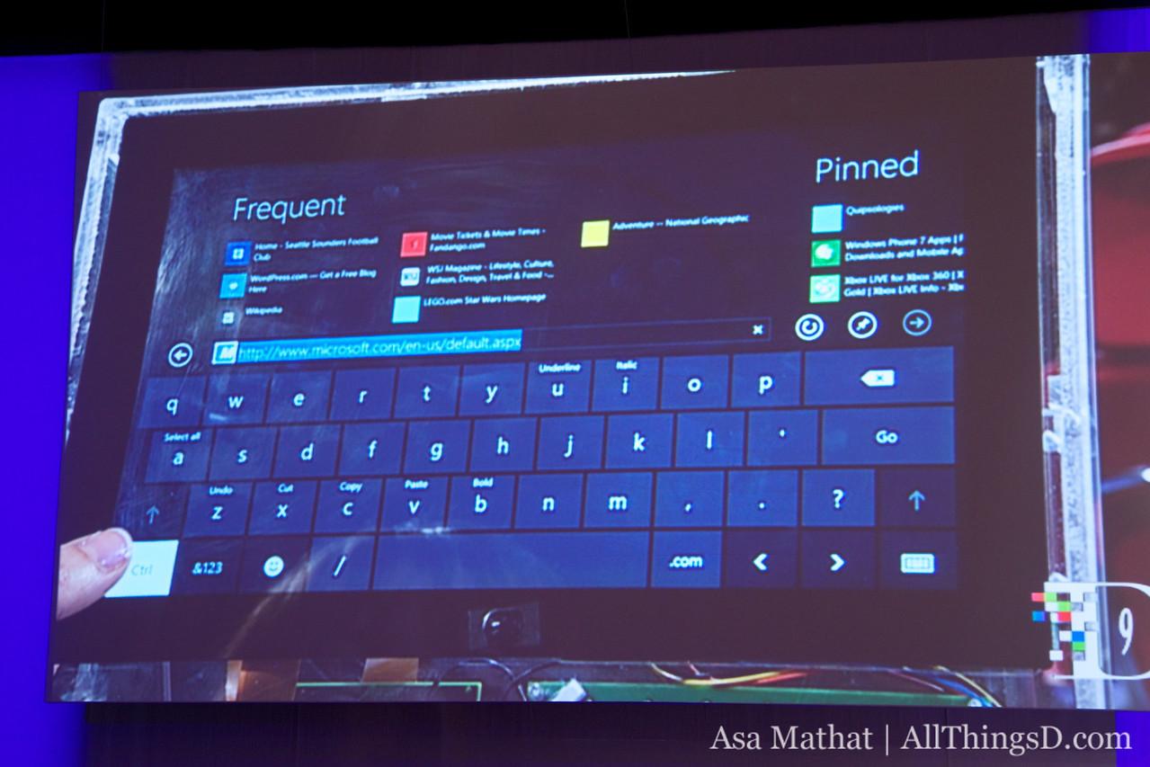 The soft keyboard on Windows 8.