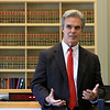 Worcester County District Attorney Joseph D. Early, Jr. announced today that his office has received two federal grants totaling $860,000 to investigate opioid overdose deaths as homicides and to divert those suffering from Substance Use Disorder into treatment. Research Partners from Fitchburg State University will collect and review local data directly and indirectly correlated with overdose deaths to identify concentrated spots of overdose deaths, non-fatal overdoses and crime. DA Early addresses the crowd at the press conference to announce the grants. SENTINEL & ENTERPRISE/JOHN LOVE