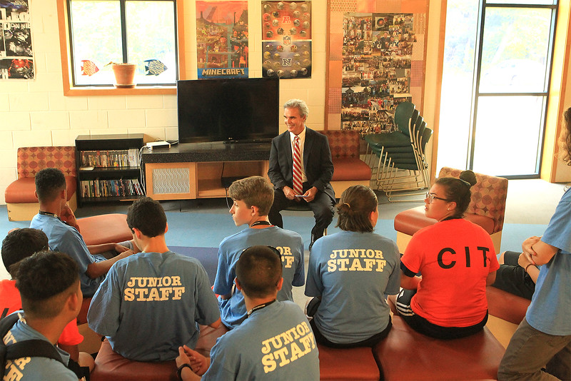 DA Joseph Early talks with the children at the Boys and Girls club in Leominster SENTINEL&ENTERPRISE/Scott LaPrade