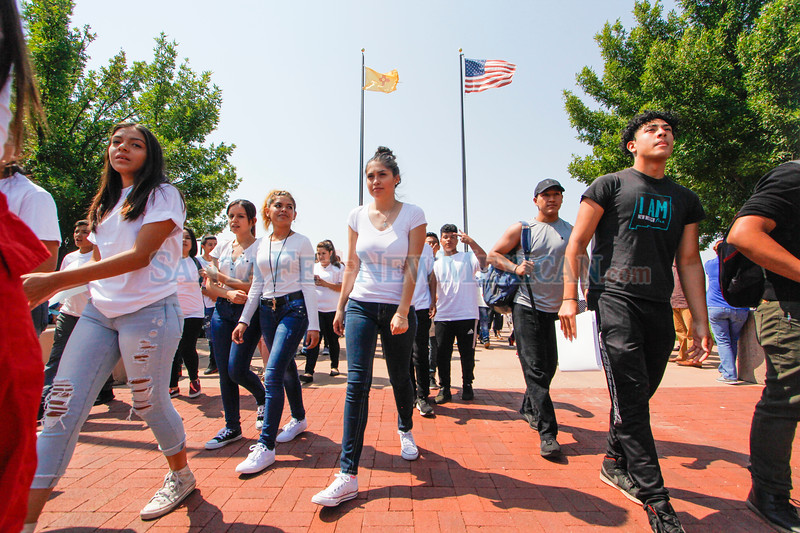 Students and community members march in response to President Trump's descision to rescind DACA at the Santa Fe Community College on Tuesday August 5, 2017. Gabriela Campos/The New Mexican