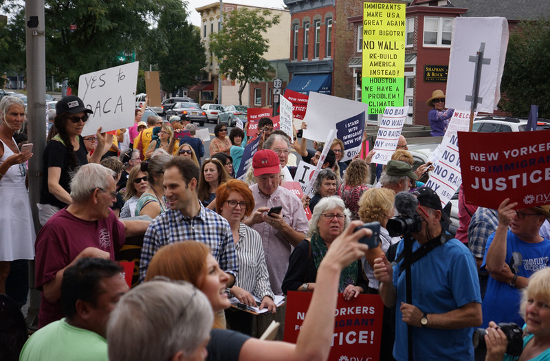 . Rally in support of young immigrants that benefit from the recently rescinded DACA (Deferred Action for Childhood Arrivals), outside U.S. Rep. John Faso\'s office at Seven21 Media Center on Broadway in Kingston on Sept. 5, 2017.