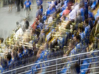 February 5 - Great UCLA band celebrating basketball victory over St. John's in revered Pauley Pavilion.  GO BRUINS!