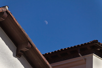 January 12 - Moon over church, Olvera Street, Los Angeles