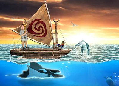 Moana Boat Digital Background