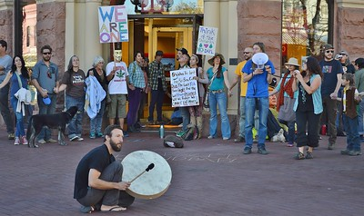 Protesters gathered at a Wells Fargo branch in Boulder, Co to protest the banks connection to the Dakota Access Pipeline.