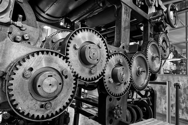 Gears of a newspaper printing press (b/w)