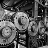 Gears of a newspaper printing press (b/w)
