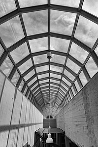 Vaulted glass roof at DASA (b/w)