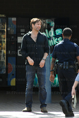 David Duchovny and Evan Handler during the set of Californication at the police station in Culver City.