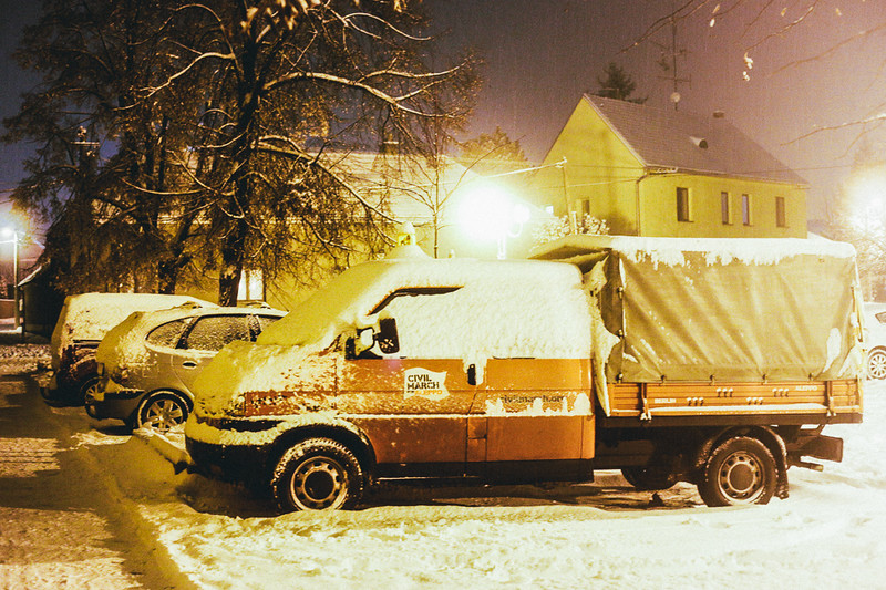 Habibi, CMFA car, covered by snow near the accommodation spot in Pohorelice.