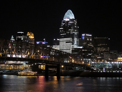 CINCINNATI BRADGES AT NIGHT